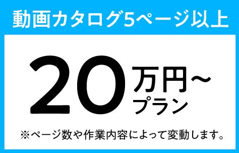 動画カタログ4ページ以上:20万円プラン(※ページ数や作業内容によって変動します。)